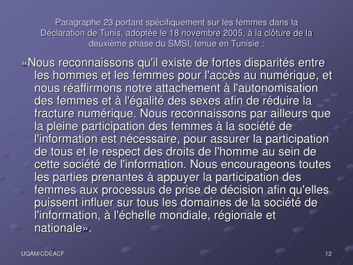 Paragraphe 23 portant spécifiquement sur les femmes dans la