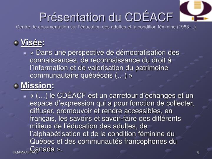 Présentation du CDÉACF