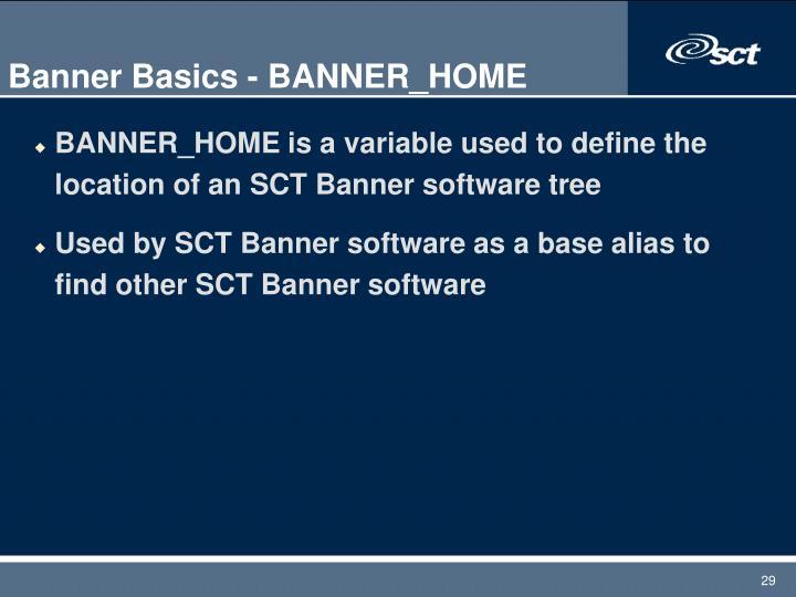 Banner Basics - BANNER_HOME