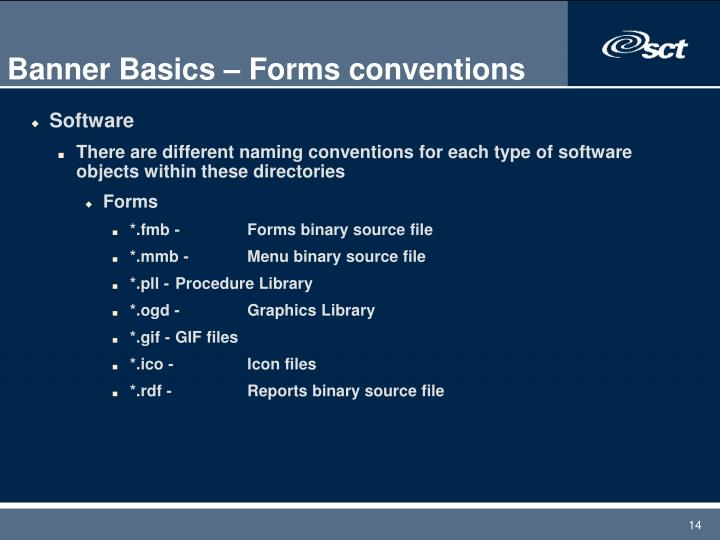 Banner Basics – Forms conventions