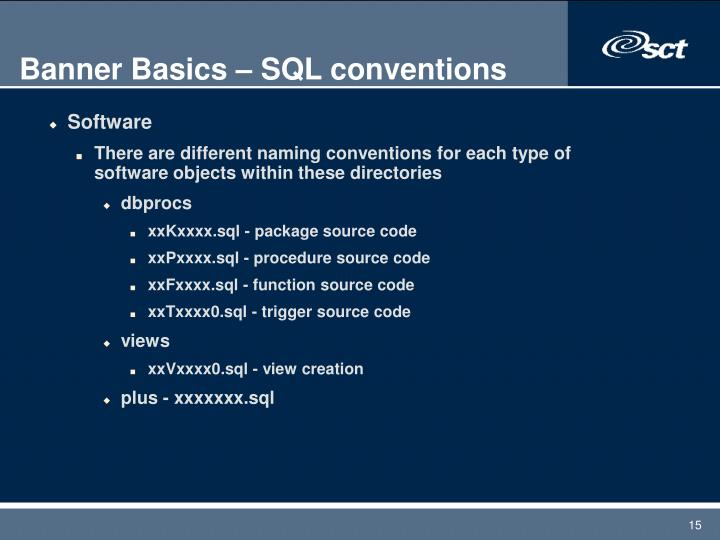 Banner Basics – SQL conventions