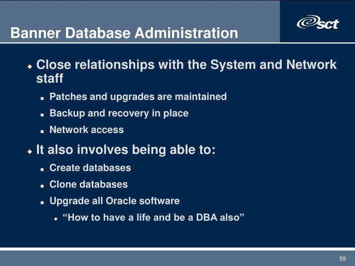Banner Database Administration