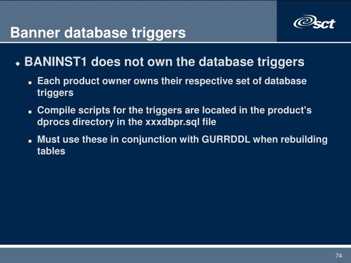 Banner database triggers
