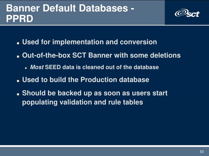 Banner Default Databases - PPRD