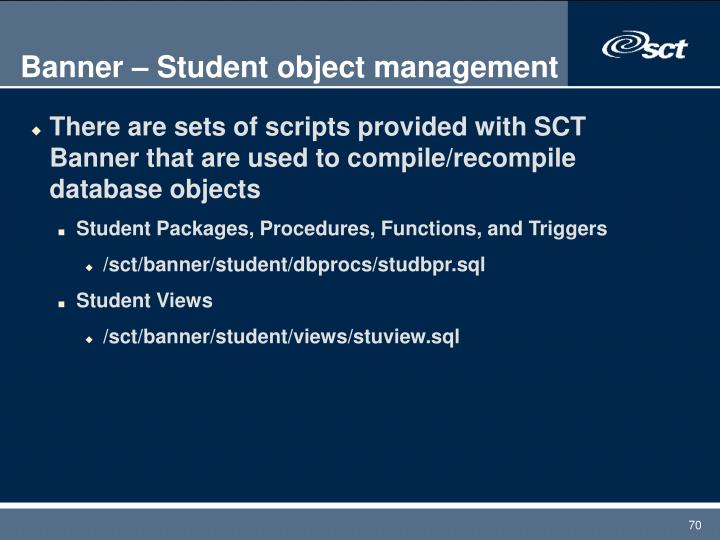 Banner – Student object management