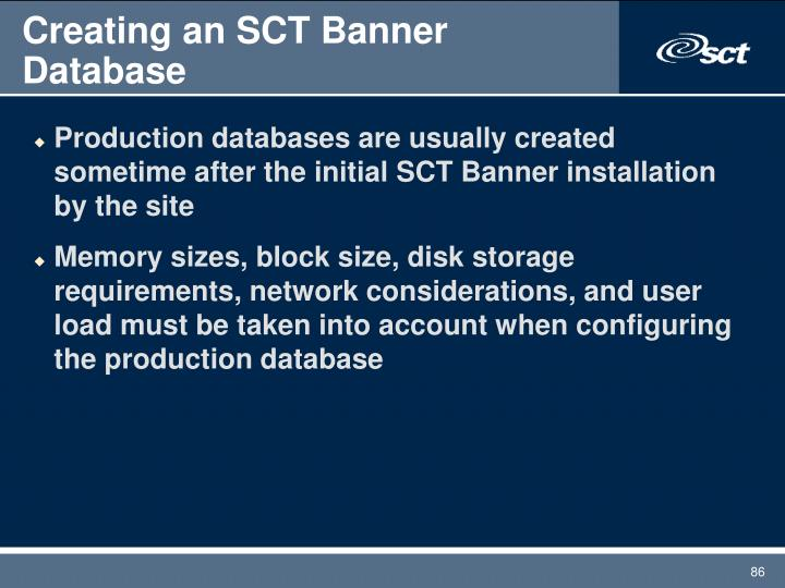 Creating an SCT Banner Database