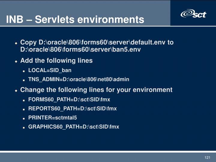 INB – Servlets environments