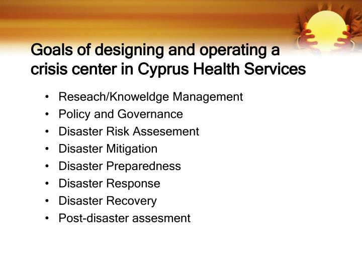 Goals of designing and operating a crisis center in Cyprus Health Services
