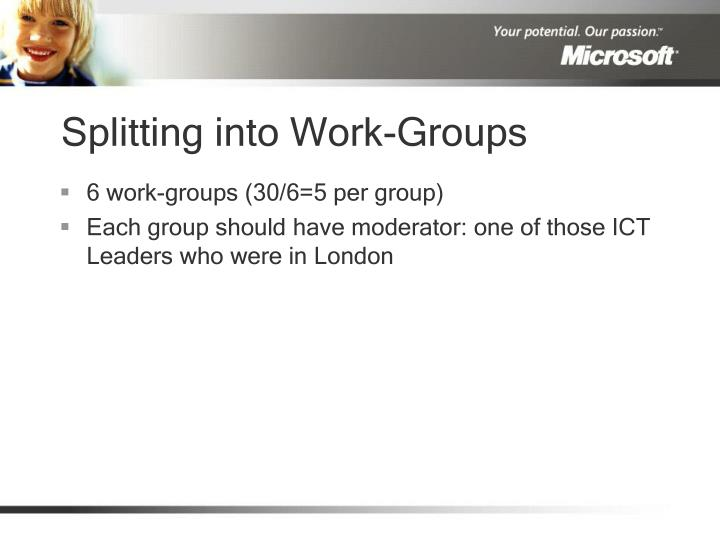 Splitting into Work-Groups