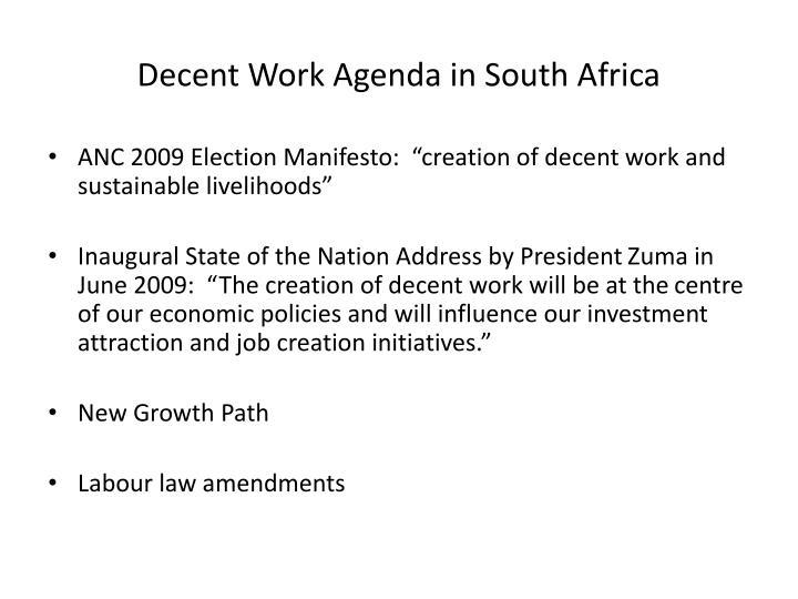 Decent Work Agenda in South Africa
