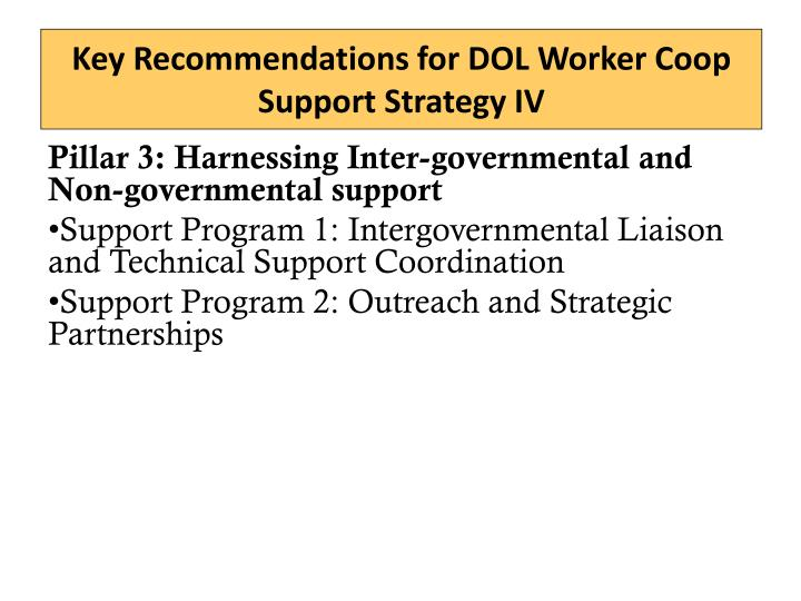 Key Recommendations for DOL Worker Coop Support Strategy IV