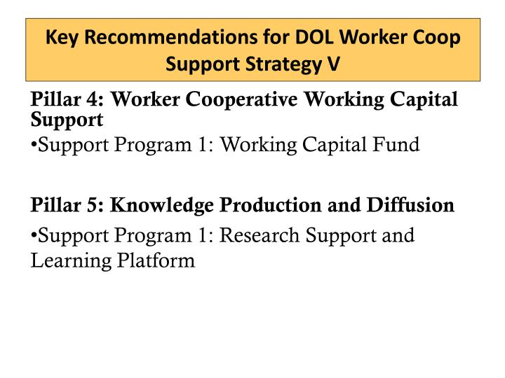 Key Recommendations for DOL Worker Coop Support Strategy V