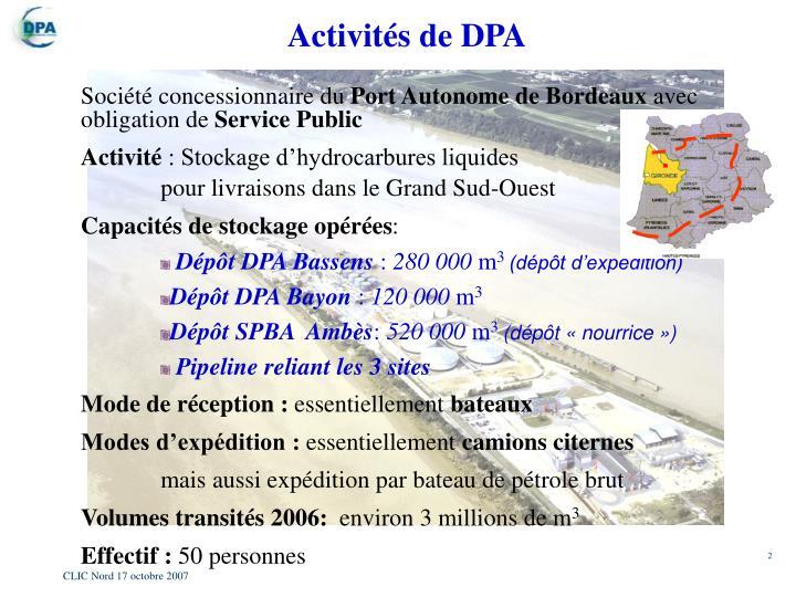 Activités de DPA