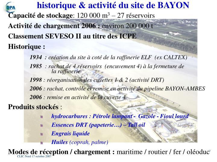historique & activité du site de BAYON