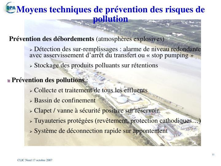 Moyens techniques de prévention des risques de