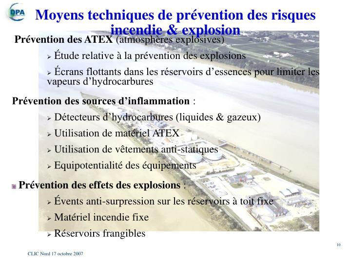 Moyens techniques de prévention des risques