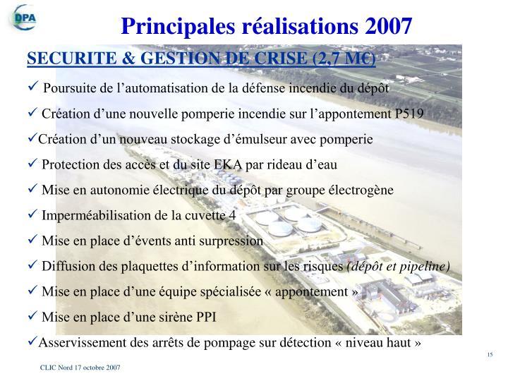 Principales réalisations 2007