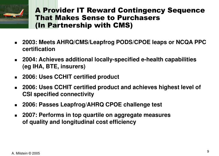 A Provider IT Reward Contingency Sequence That Makes Sense to Purchasers