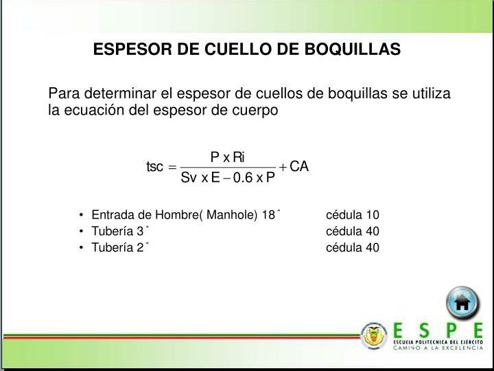ESPESOR DE CUELLO DE BOQUILLAS
