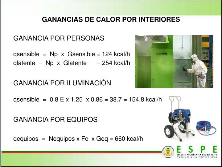 GANANCIAS DE CALOR POR INTERIORES