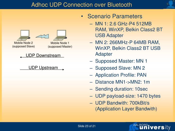 Adhoc UDP Connection over Bluetooth