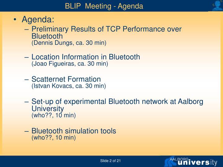 BLIP  Meeting - Agenda