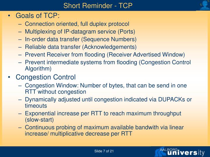 Short Reminder - TCP