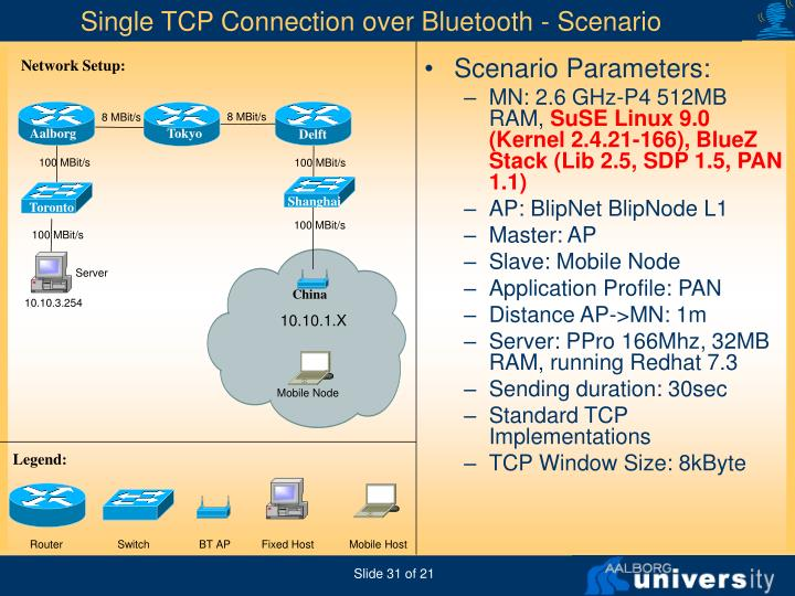 Single TCP Connection over Bluetooth - Scenario