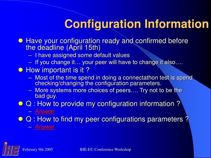 Configuration Information