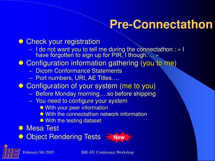 Pre-Connectathon