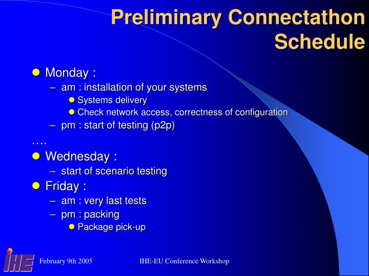 Preliminary Connectathon Schedule