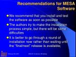 recommendations for mesa software