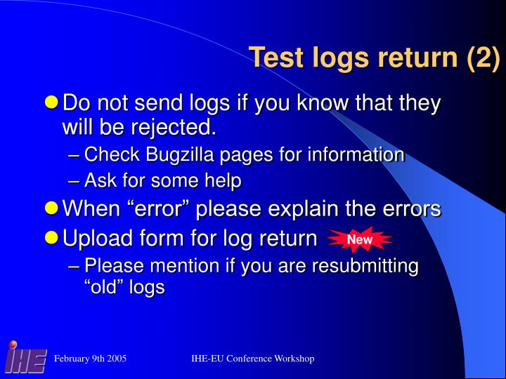 Test logs return