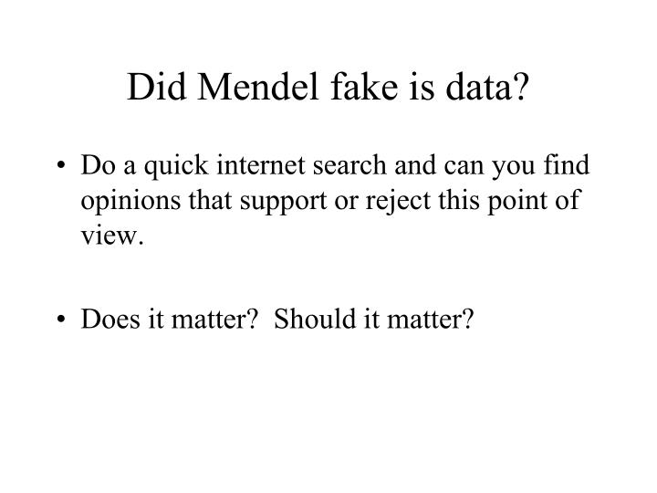 Did mendel fake is data