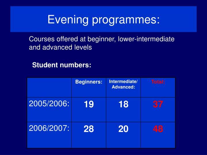 Evening programmes: