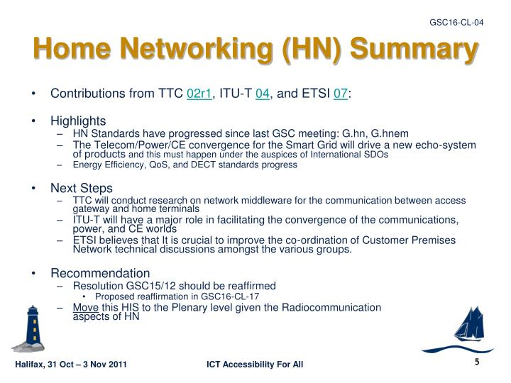 Home Networking (HN) Summary
