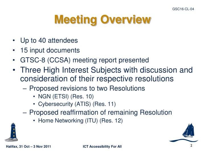 Meeting Overview