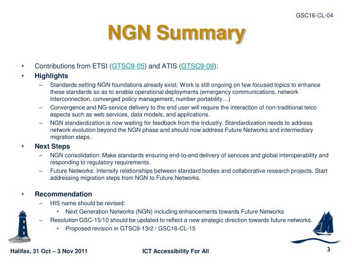 NGN Summary