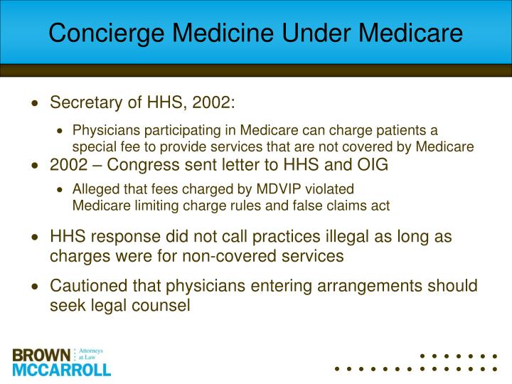 Concierge Medicine Under Medicare