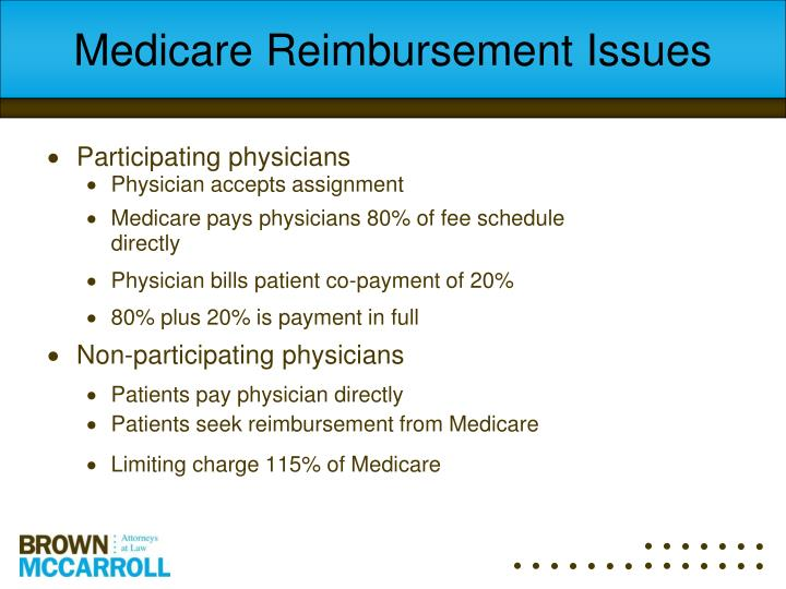 Medicare Reimbursement Issues