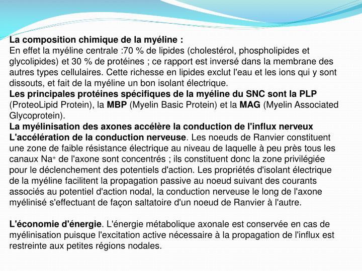 La composition chimique de la myéline :