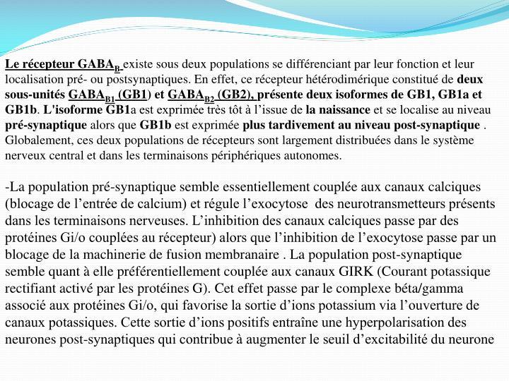 Le récepteur GABA