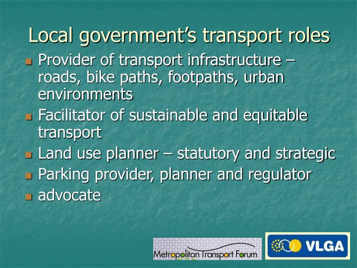 Local government's transport roles