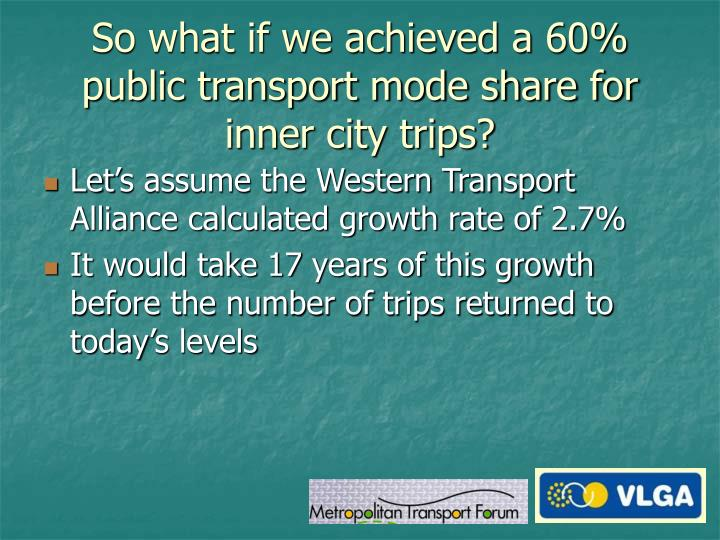 So what if we achieved a 60% public transport mode share for inner city trips?