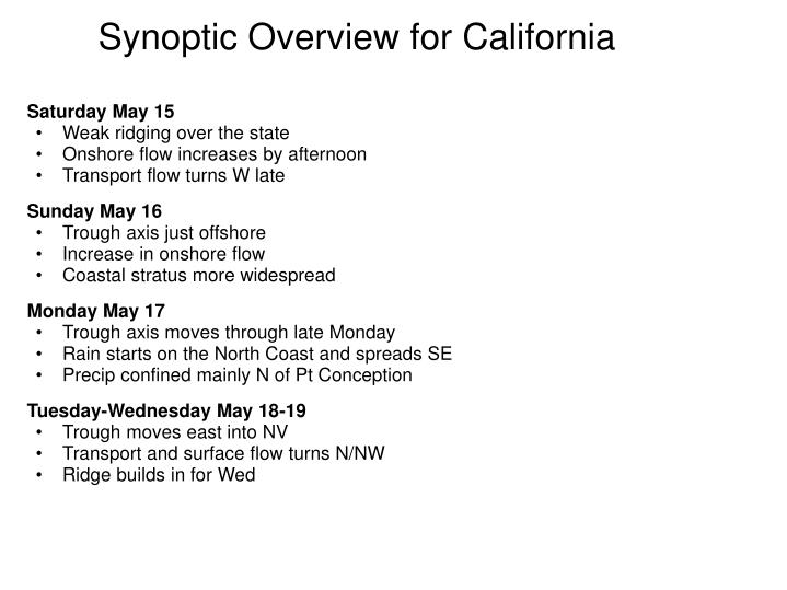 Synoptic Overview for California