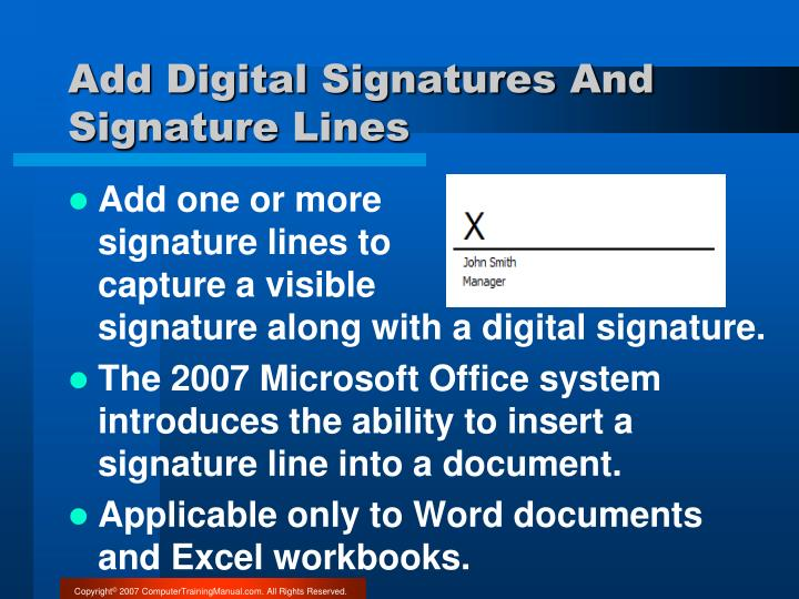 Add Digital Signatures And Signature Lines