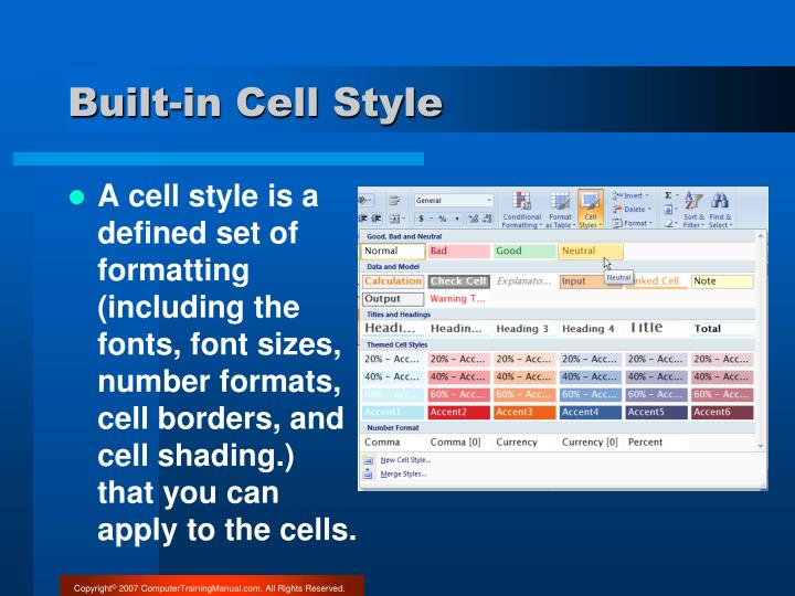 Built-in Cell Style