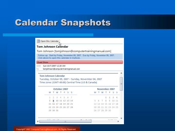 Calendar Snapshots