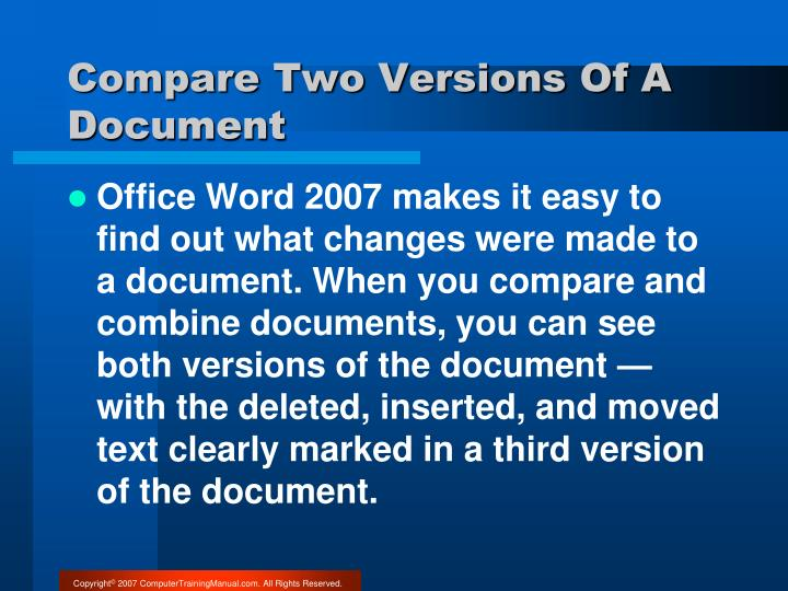Compare Two Versions Of A Document