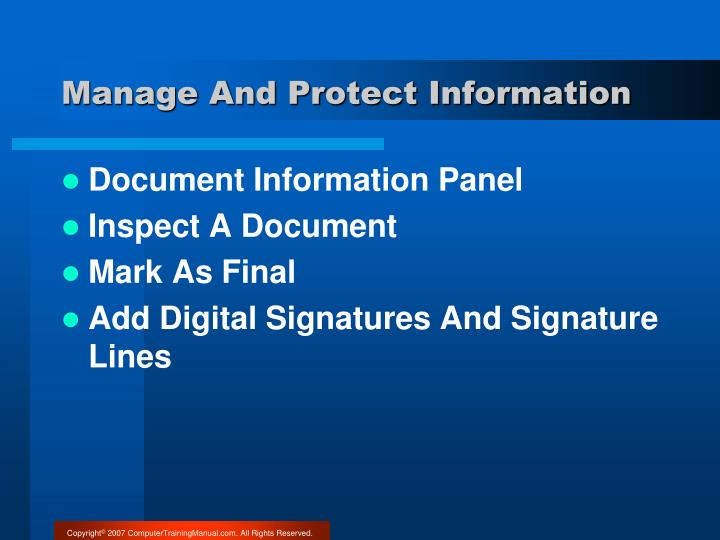 Manage And Protect Information